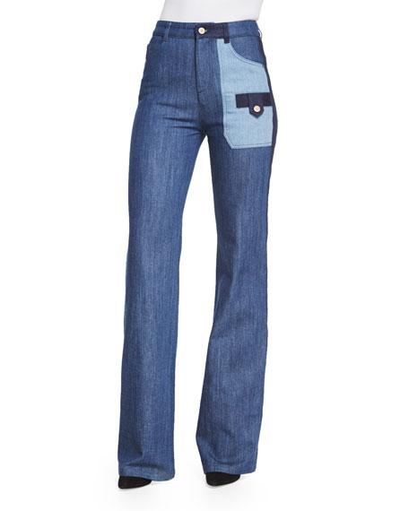 f10c4764c0 Patchwork Denim Flare Jeans