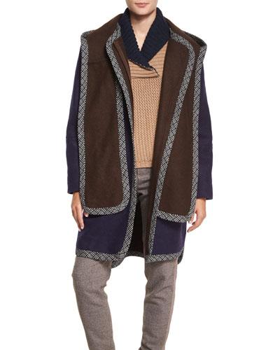 Double-Face Hooded Coat, Indigo