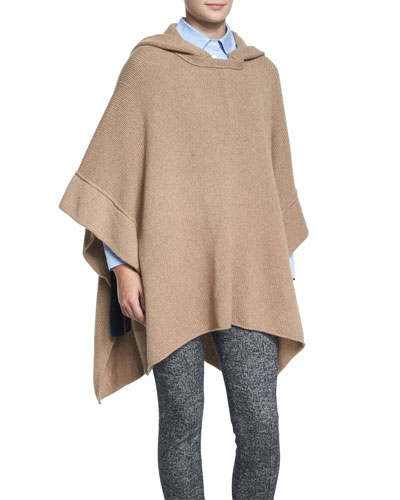 Fancy Stitch Knit Poncho, Camel