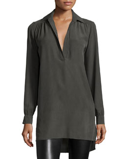 Joleen Silk Pullover Top, Gray