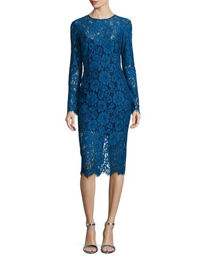 Gynne Long-Sleeve Lace Pencil Dress, Blue