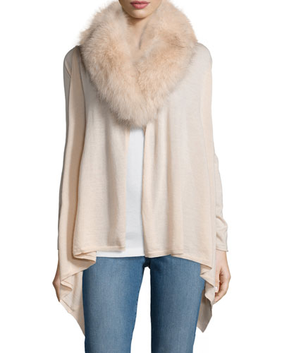 Izzy Fur-Trim Cardigan, Pink