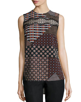 Lace-Trim Patchwork Tank, Pink/Multicolor