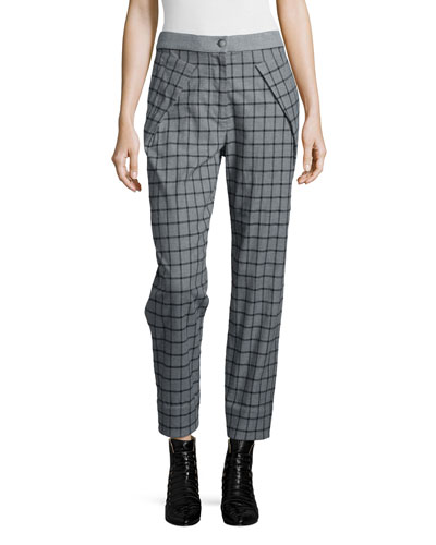 Asymmetric Pocket Grid Pants, Gray