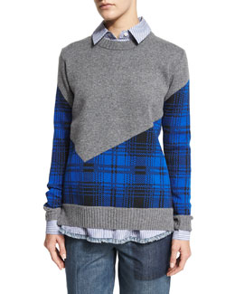 Plaid Combo Cropped-Back Crewneck Sweater