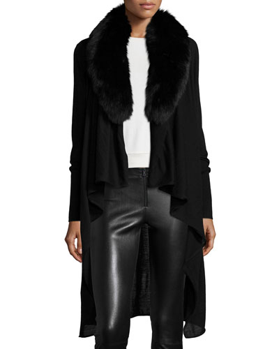 Azaria Draped-Front Fur-Trim Cardigan, Black