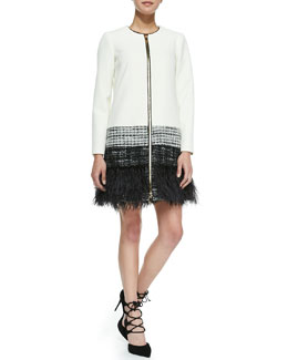 Zip-Front Feather-Trim Jacket