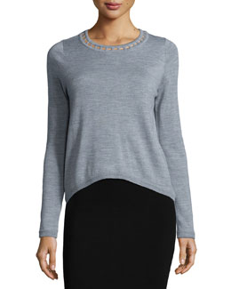 Bar-Inset Wool Pullover