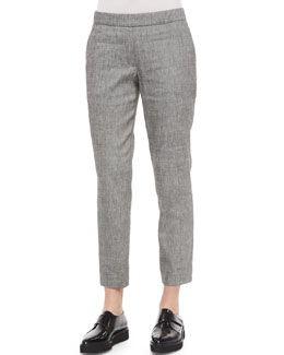 Thaniel Slim Cropped Chambray Pants