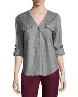 Trisalta Sharkskin Button Top