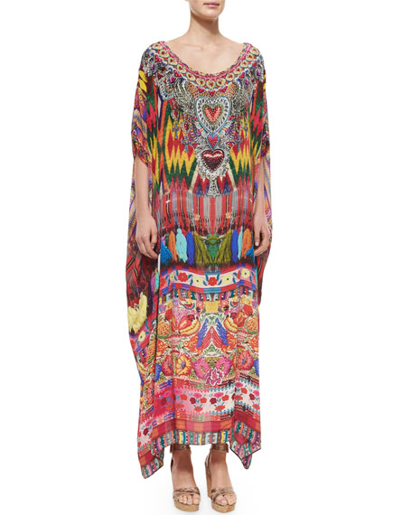 Printed Crepe Beaded Caftan Coverup