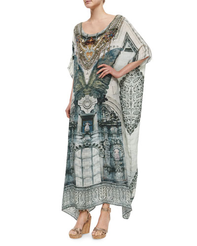 Printed Beaded Caftan Coverup
