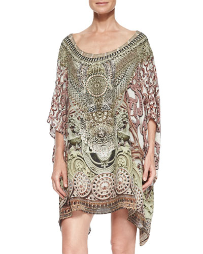 Printed Beaded Short Caftan Coverup