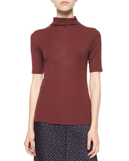 Cruzio Knit Short-Sleeve Turtleneck