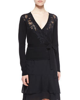 Floral-Embroidered Ballerina Wrap Sweater, Black
