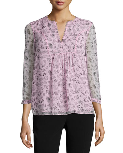 Fleur Silk Multipattern Top, Pink