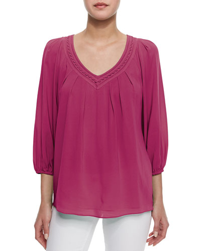 Davi 3/4-Sleeve Stretch-Silk Top, Pink