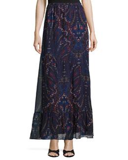 Traluna Paisley-Print Chiffon Skirt