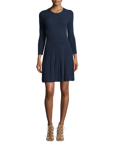 Peronne Ribbed Knit Dress, Heather Midnight