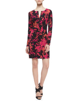 Reina Floral Daze Sheath Dress, Black/Pink