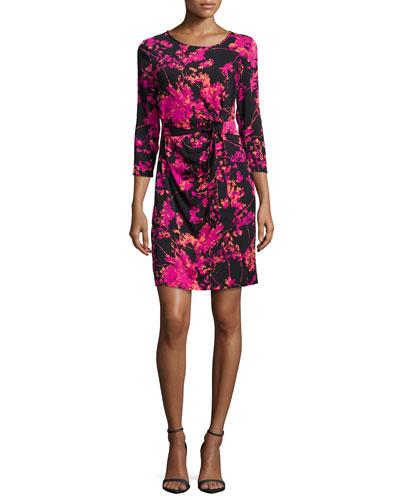Zoe Floral Daze Sheath Dress, Black/Pink