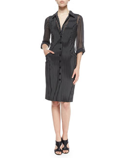 Gilet Striped Vest Dress, Black/Gray