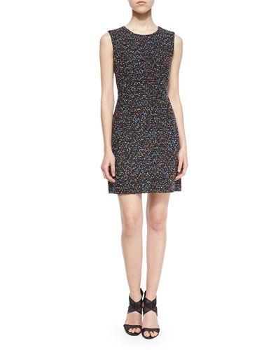 Carrie Tweed A-Line Dress, Black/Multicolor