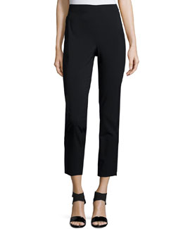 Cropped High-Waist Leggings, Black