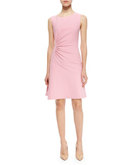 Dayna Ruched Fit-and-Flare Dress, Pink Ice