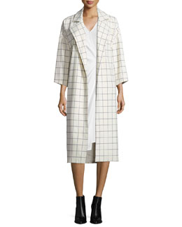 Grid-Print Trench Jacket with Tie-Waist, Ivory