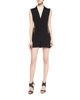 Seduction Mesh-Side Collared Romper