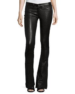 Low-Rise Bell-Bottom Leather Pants, Washed Black
