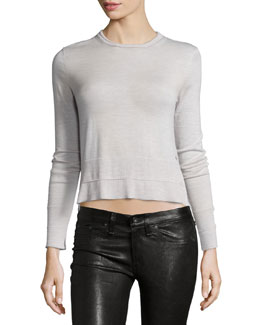 Leanna Crew-Neck Merino Top, Light Gray