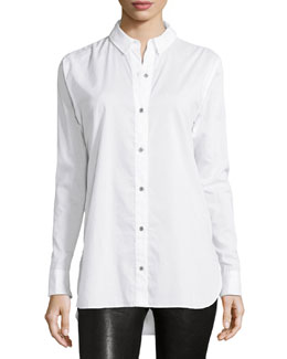 Beau Long-Sleeve Shirt, Bright White