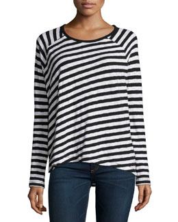 Camden Striped Long-Sleeve Tee, Black