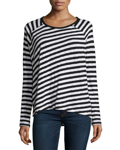 Camden Striped Long-Sleeve Tee, Black
