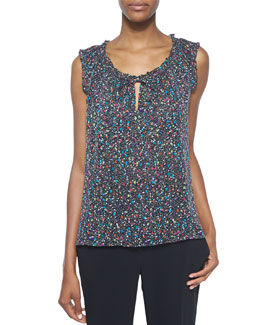 Rebekah Splatter-Print Silk Tank, Black/Multicolor