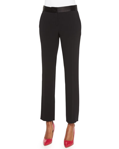 Genesis Contrast-Trim Ankle Pants, Black