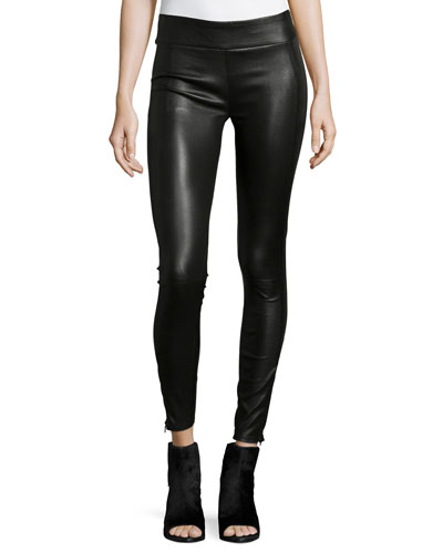 Mid-Rise Leather Leggings, Black
