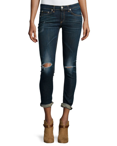 Low-Rise Distressed Skinny Jeans, Ayoyama