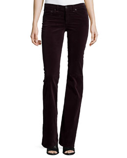Mid-Rise Bell-Bottom Jeans, Wine