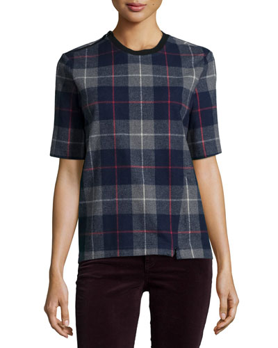 Austin Plaid Short-Sleeve Top, Charcoal