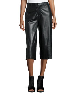 High-Waist Wide-Leg Leather Gaucho Pants, Black