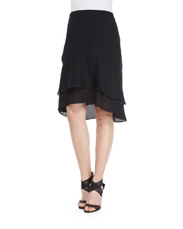 Catherine Tiered Ruffle Skirt, Black