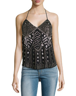 Scarface Beaded Silk Halter Top