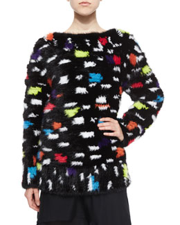 Printed Mink Fur Sweatshirt, Black/Multicolor