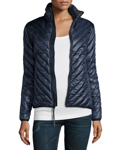 Chevron Quilted Parka, Navy