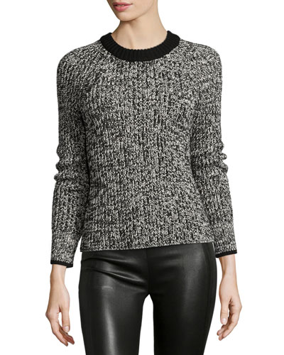Karen Crewneck Sweater, Black/White