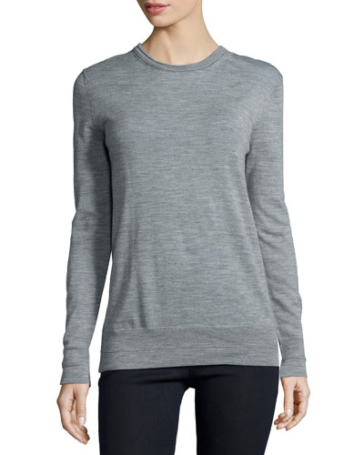 Leanna Long-Sleeve Boyfriend Sweater, Medium Gray