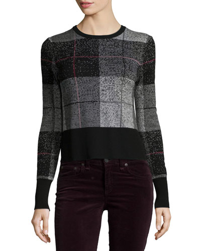 Tegan Plaid Long-Sleeve Tee, Black